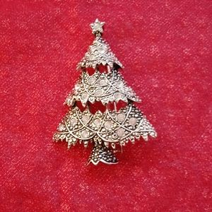 Vintage Pewter Christmas Tree Holiday Brooch